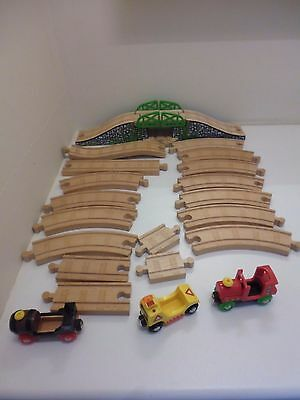 Brio Train Set Accessories Track Bridge 3 Trains Vehicles