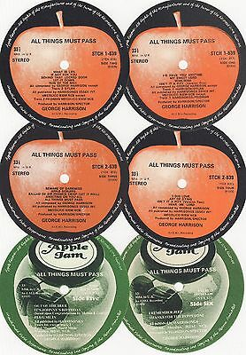"""George Harrison Unused UK Apple Records """"All Things Must Pass"""" LP Labels"""