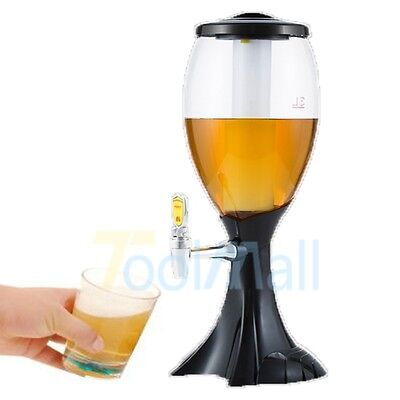 3L Cold Draft Beer Tower Dispenser Plastic with LED Lights New US STOCK