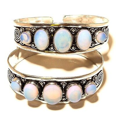 "Wholesale Lot ! 2 Pcs 925 Sterling Silver Plated Fire Opal Bangle / Cuff 7.5"" In"