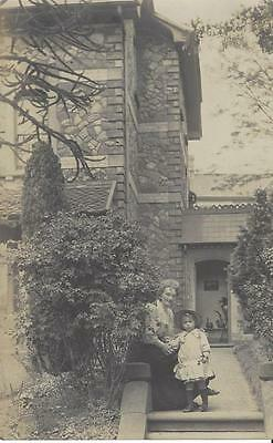 Edwardian Mother & Daughter Outside A Lovely House Vintage Photo Postcard