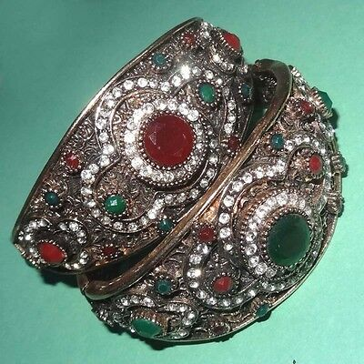 Wholesale Lot Ruby& Emerald 925 Solid Brass 2 Pcs Turkish Victorine Bangle/ Cuff