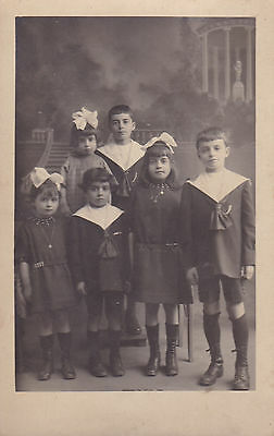 Antique French RPPC: Studio Photograph, Children, Boys And Girls - Tory, Bourges