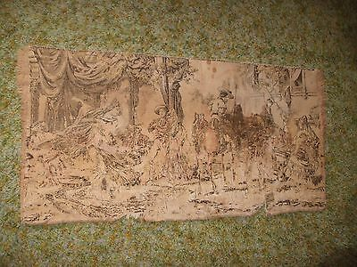 """Vintage/Antique Original Wall/Table Runner Tapestry Colonial Design 38X18-1/2"""""""