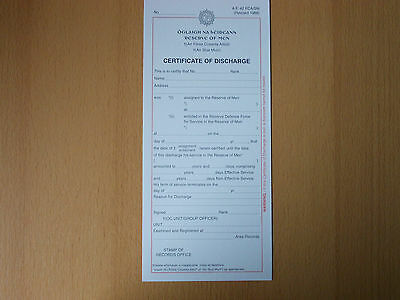 CERTIFICATE OF DISCHARGE - RESERVE OF MEN -  IRISH ARMY - blanco form