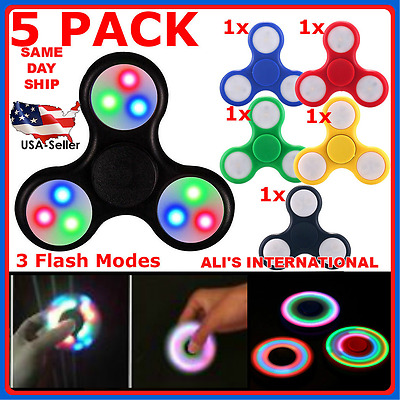 LOT OF 5 PACK Tri Fidget Hand Finger Spinner Gyro LED Flash Light Up EDC Focus T