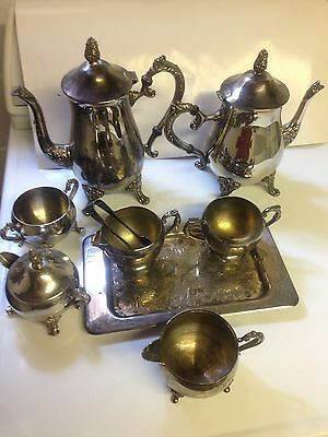 Antique silver teapot set plus other pieces