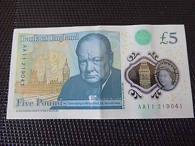 Aa11 Polymer 5 Pound Note Low Serial Number 219041