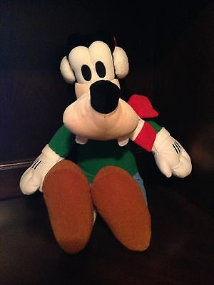 Large Christmas Winter Holiday Disney Goofy Plush with Scarf and Santa Hat