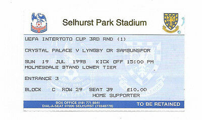 Ticket 1998 UEFA Intertoto Cup - CRYSTAL PALACE v. SAMSUNSPOR