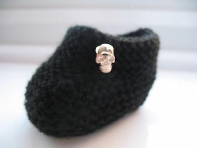 Hand knitted baby booties - Newborn Size - in black with skull button