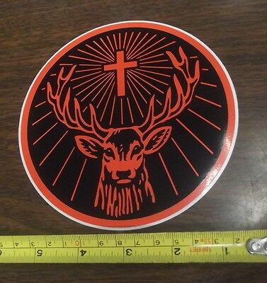 "Jagermeister 5 1/2"" Round Stag Vinyl Decal Use / Cars Bar Man Cave Mirror Glass"