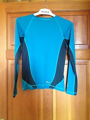 RAB Turquoise Blue / Grey Base Layer Top Size 8 XS