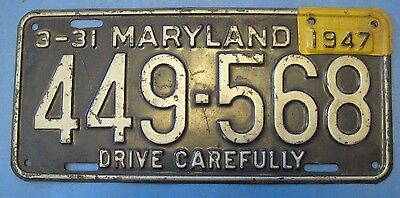 1945/47 Maryland License Plate single plate year
