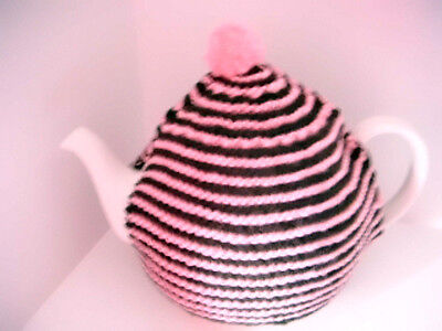 Tea cosy, Hand Knitted in Dark Brown & Bright Pink, 2 fit Medium sized  teapot