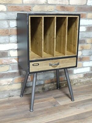 Industrial Filing Cabinet  Record Vinyl Record Player  Storage Distressed Look