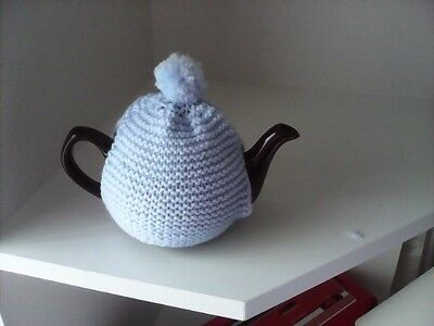 Hand Knitted Tea Cosy in Pale Blue, 2 fit a Standard 2 cup Tea Pot