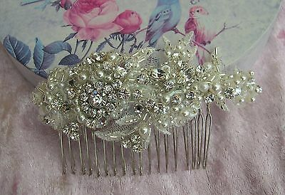 Vintage style beaded lace comb, ivory pearl, crystal, beads, wedding, bride,
