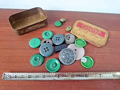 Vintage Tin of Green Grey Buttons Yellow Red Potters Cattarrh Pastilles Box