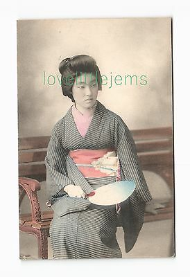 c1910 PPC Japan Geisha with fan