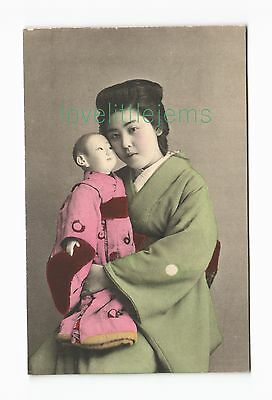 c1910 PPC Japan Geisha with doll