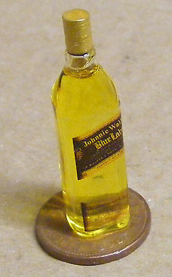 1:12 Glass Bottle Of Johnnie Walkers Blue Label Whisky Dolls House Miniature