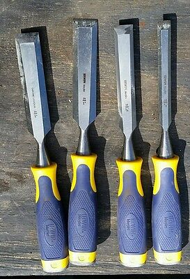 """4 Marples Chisel Set By Irwin  Wood Woodworking  1/2"""" 3/4"""" ...2-1"""""""