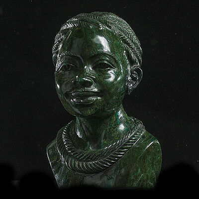 'Happy Young Lady', Verdite by Tafadzwa Tandi, Shona Sculpture, Zimbabwe, Africa