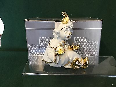 Figurine Made From Limoges And  Swarovski Crystal Clown Crystal Ball Capodimonte