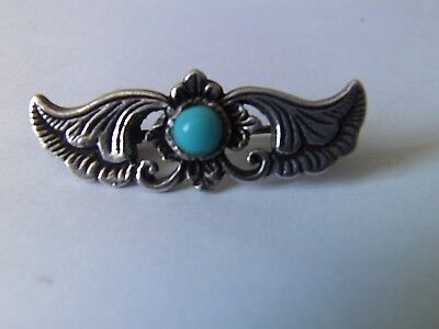 925 Silver & Turquoise Brooch-Poss. Native/Navajo American. Vintage catch.