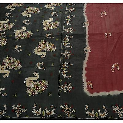 Sanskriti Antique Vintage Saree 100% Pure Silk Hand Embroidered Maroon Fabric
