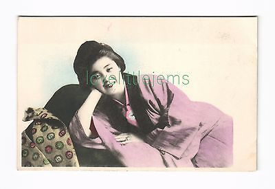 c1910 PPC Japan reclining Geisha