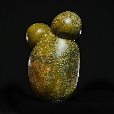 'Two People', abstract in Verdite by Victor Mutongwizo, Shona Sculptor