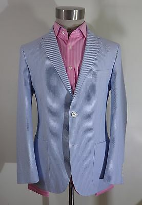 Mens M&s Luxury Blue White Cotton Striped Boating Jacket Blazer Size 40 S