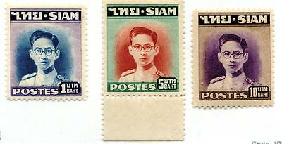 Thailand Stamps 1947-1949 1St Series (1, 5, & 10 Baht) Mnh Xf