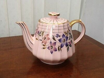 Beautiful Vintage Pink Teapot With Flowers And Gold Web Design 16cm Tall