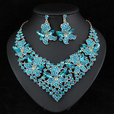 Lily Teal Austrian Crystal Rhinestone Necklace Earrings Set Prom Bridal N917t