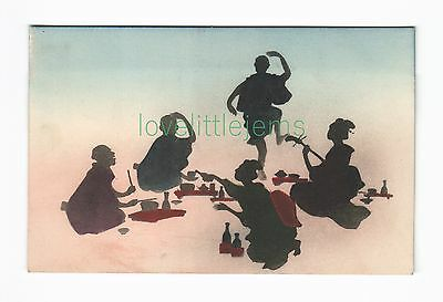 c1910 PPC Japan Silhouette Tea Music & Dacing