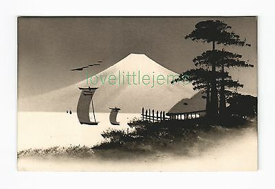 c1910 PPC Japan Silhouette moonlight scene (b)
