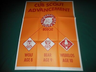 """Set of 4 Vintage Cub Boy Scouts Training Posters ~ 25"""" x 33"""" Posters #5-8 MINTY!"""
