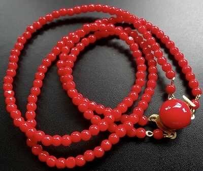 vintage bright lipstick red glass round bead 2 strand necklace push clasp -C168