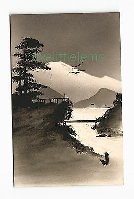 c1910 PPC Japan Silhouette moonlight scene (f)
