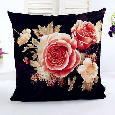 Printed Peony Pillow Case Black