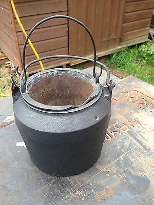 Antique - Salvaged Old Cast Iron 2 Pce Glue Melting Pot  Large Woodworking
