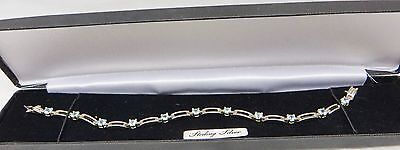 Beautiful 925 Sterling Silver Tennis Bracelet With Round Cut Topaz