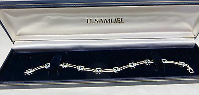 Very Pretty 925 Sterling Silver Tennis Bracelet With Square Cut Topaz