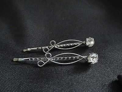 """Vintage Estate Sale Women's Crystal Stone Hairpins 2"""" In Length Stunning !"""