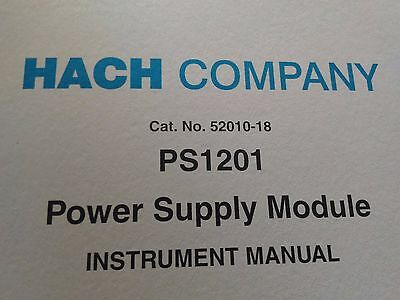Hach PS 1201 Power Supply Module (SOM) Cat. No. 52010-18 INSTRUMENTAL MANUAL