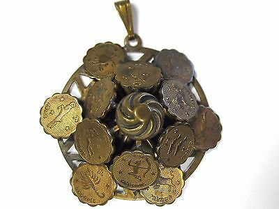 Vintage 1970s 12 Zodiac Signs Bronze Pendant New Age Horoscope Astrology Stars