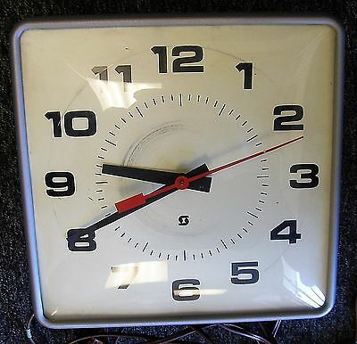 Vintage Simplex Industrial Square Clock Factory School Works Long Plug Wire